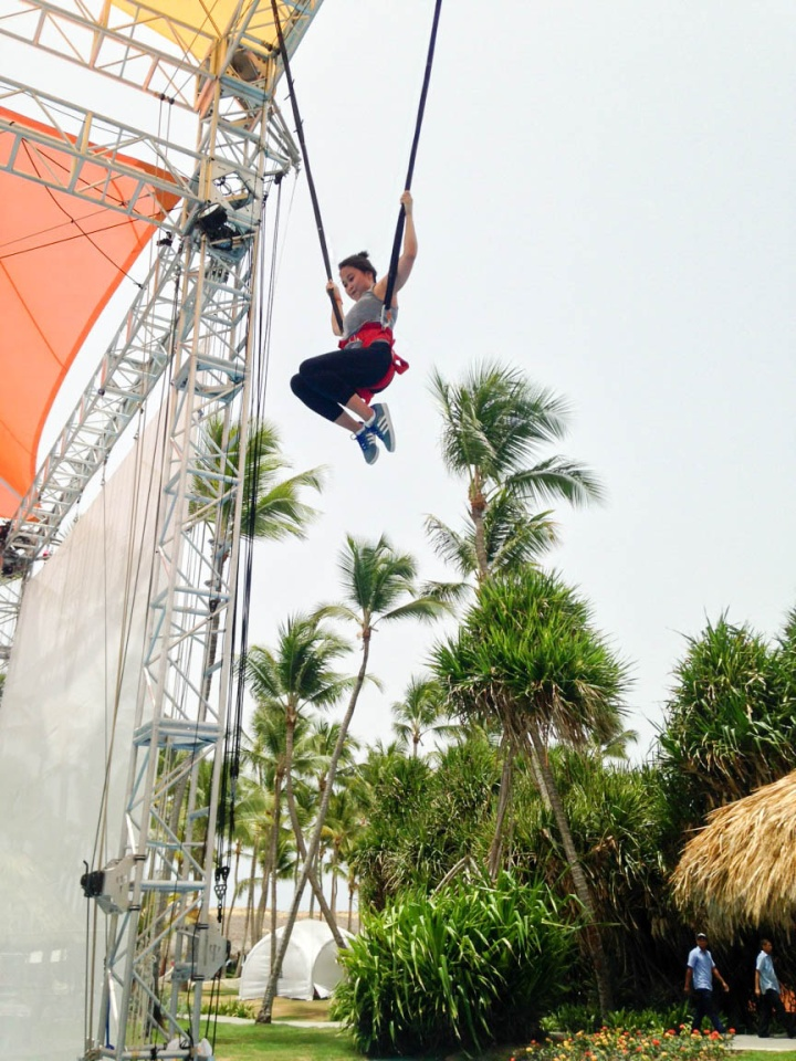 Taking on the acrobatic bungee at Club Med CREACTIVE by Cirque du Soleil. (Photo: Michelle Rae)