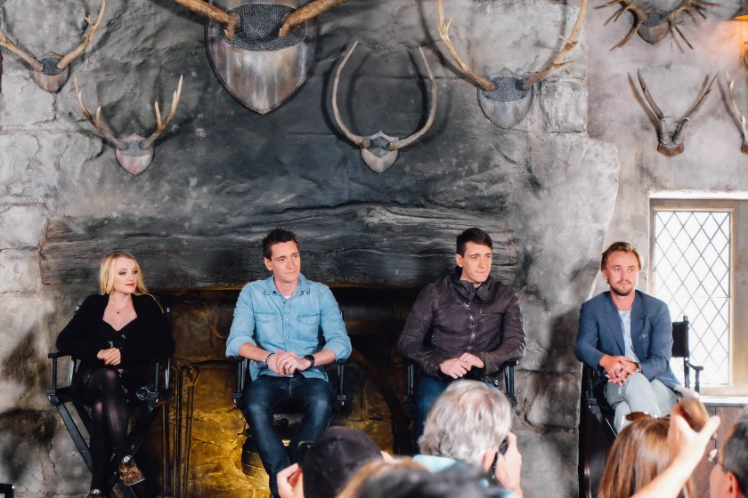 Evanna Lynch, James Phelps, Oliver Phelps and Tom Felton during panel discussion with media. (Photo: Michelle Rae Uy)