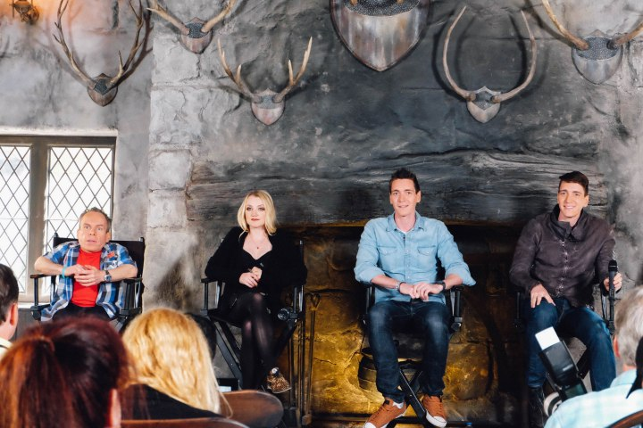 Warwick Davis, Evanna Lynch, James Phelps, and Oliver Phelps during panel discussion with media. (Photo: Michelle Rae Uy)