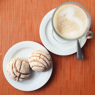 Conchas and cappuccino for breakfast