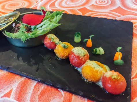 Salad and cheese plate at the Brazilian restaurant at The Royal Playa del Carmen